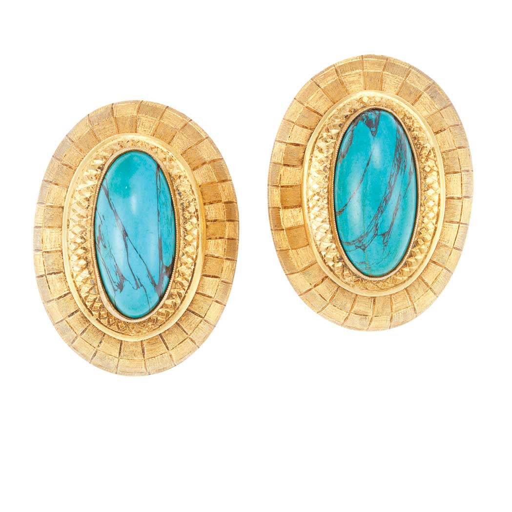 Lot image - Pair of Gold and Turquoise Earclips