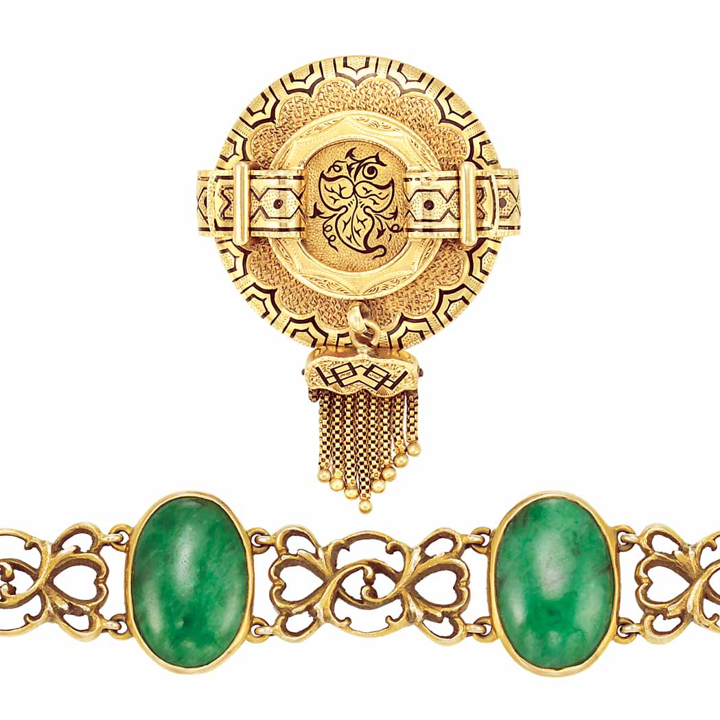 Lot image - Antique Gold and Jade Bracelet and Gold and Enamel Pendant-Brooch
