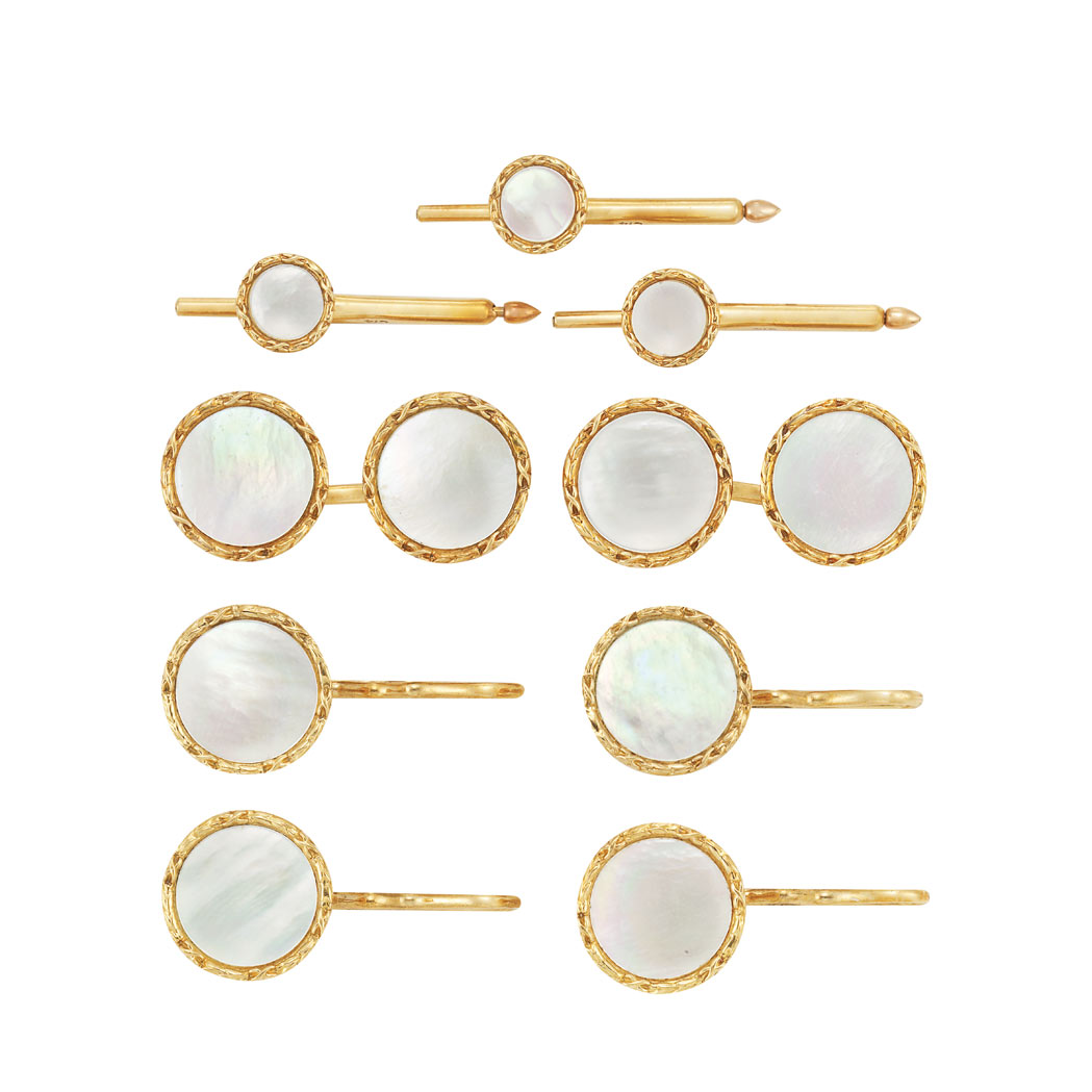 Lot image - Gold and Mother-of-Pearl Dress Set, Tiffany & Co.