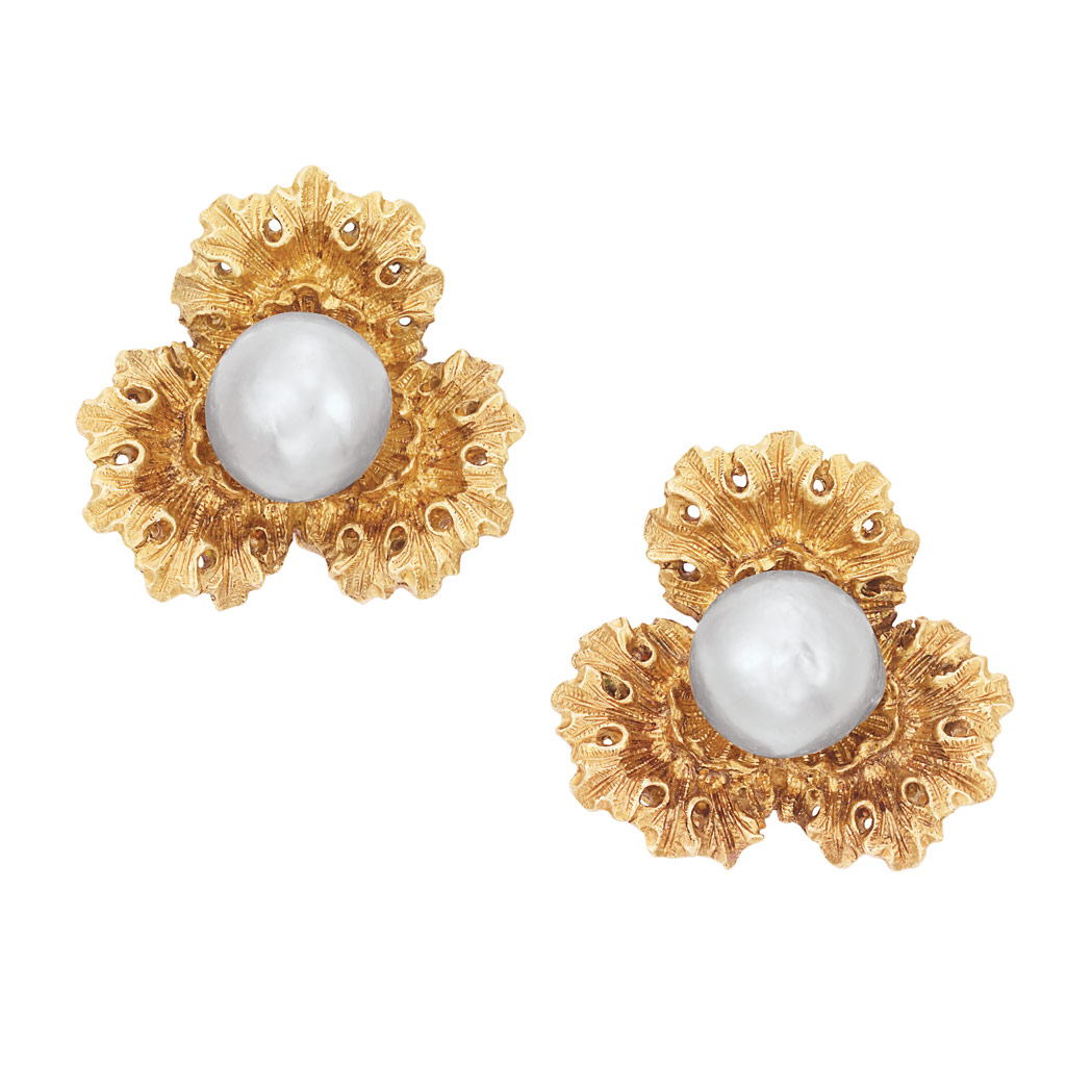 Lot image - Pair of Gold and Gray Semi-Baroque Cultured Pearl Flower Earclips, Buccellati