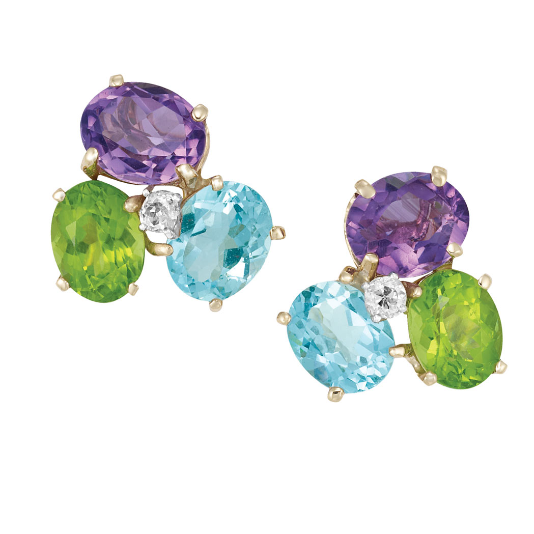 Lot image - Pair of Gold, Blue Topaz, Amethyst, Peridot and Diamond Earclips