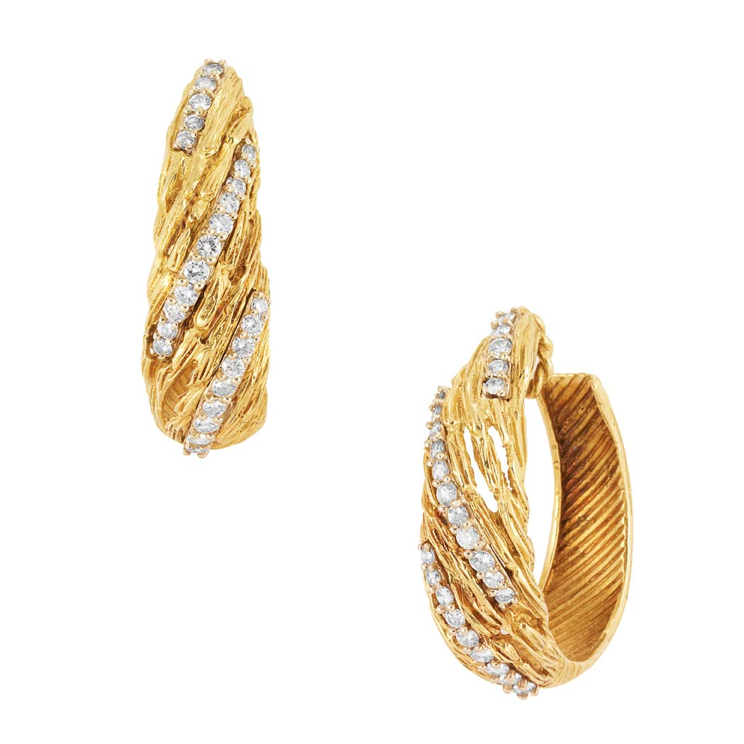 Lot image - Pair of Gold and Diamond Hoop Earclips, Hammerman Bros.