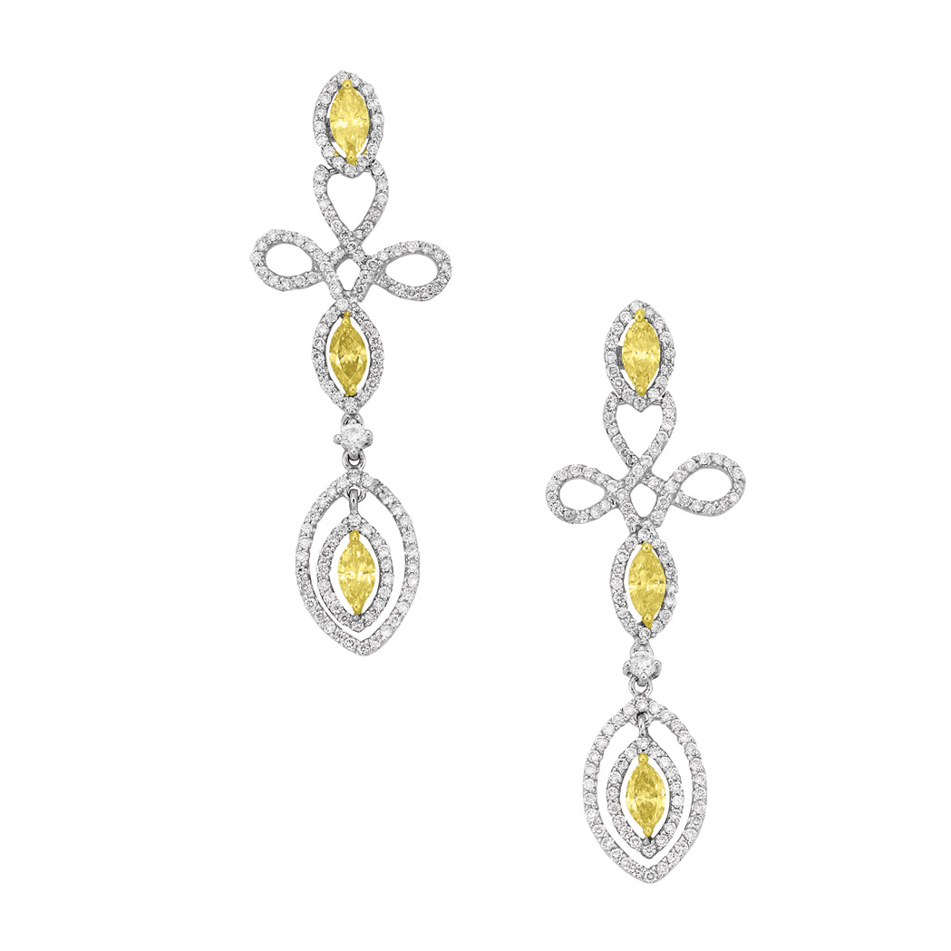 Lot image - Pair of White Gold, Yellow Diamond and Diamond Pendant-Earrings