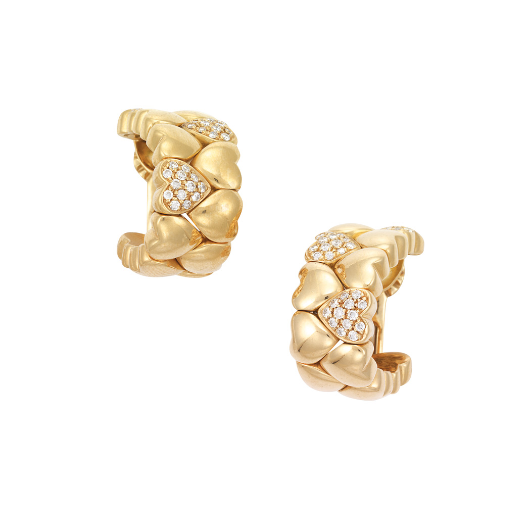 Lot image - Pair of Gold and Diamond Hoop Earrings, Cartier
