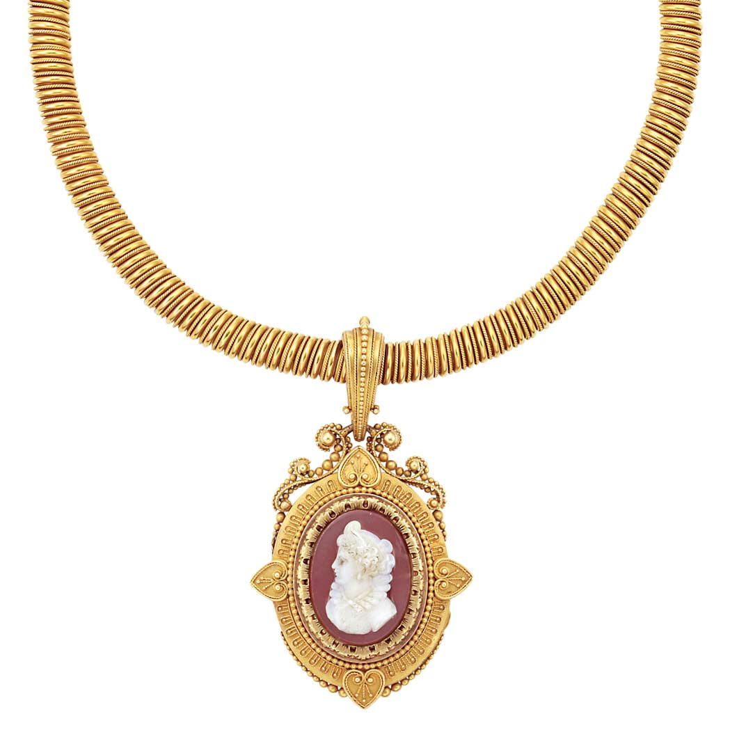 Lot image - Antique Gold Necklace with Archeological Revival Gold and Hardstone Locket