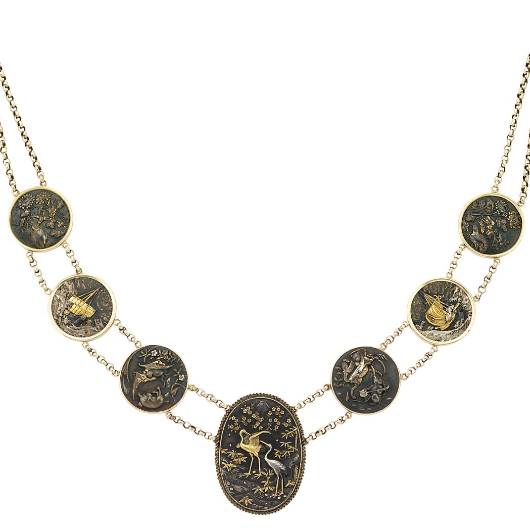 Lot image - Gold, Low Karat Gold, Brass and Shakudo Necklace