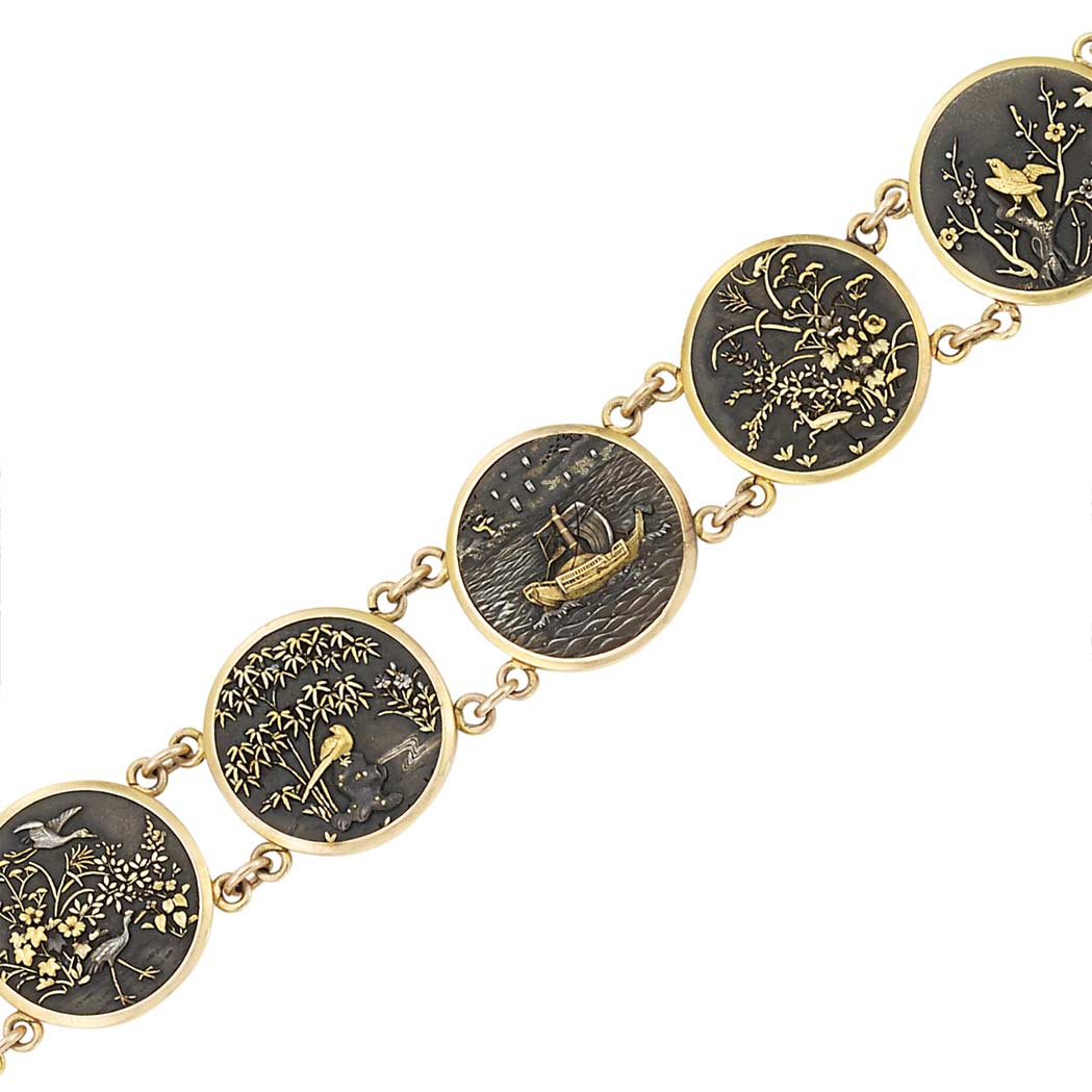 Lot image - Gold and Japanese Shakudo Bracelet