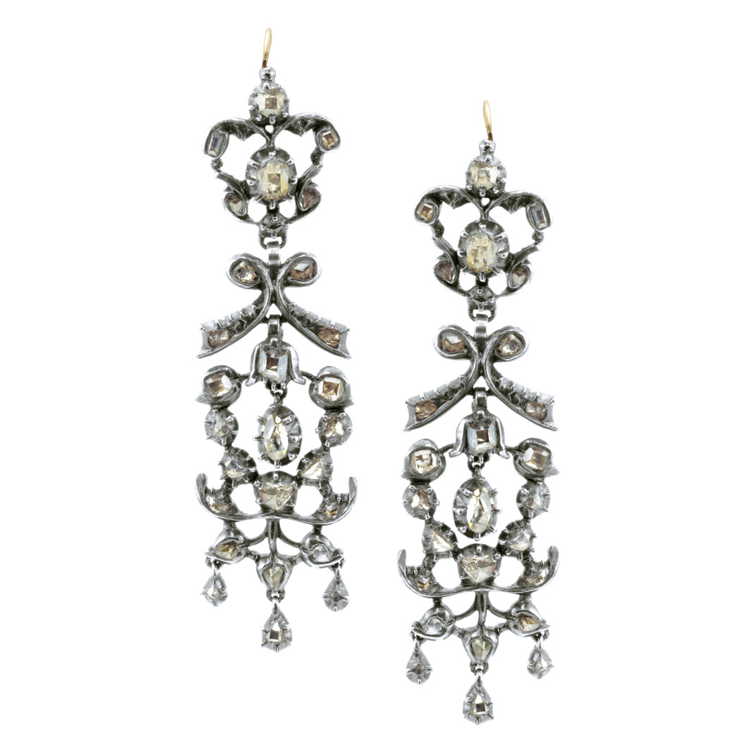 Lot image - Pair of Georgian Silver, Gold and Diamond Pendant-Earrings