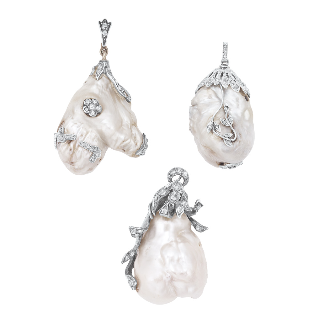Lot image - Three Antique Freshwater Pearl and Diamond Pendants