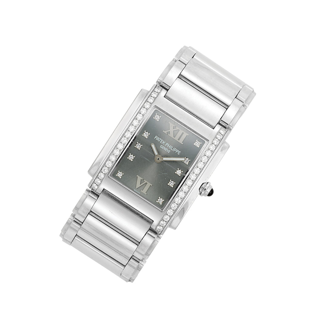 Lot image - Stainless Steel and Diamond Wristwatch, Patek Philippe