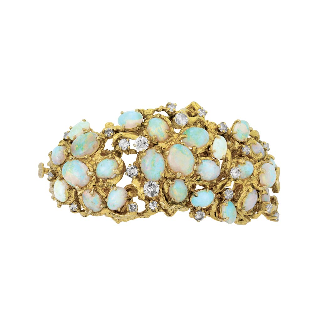 Lot image - Nugget Gold, Opal and Diamond Bangle Bracelet