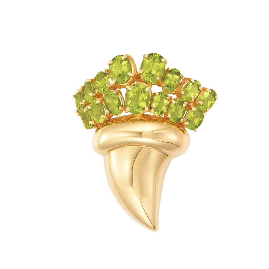 Lot image - Gold and Peridot Brooch
