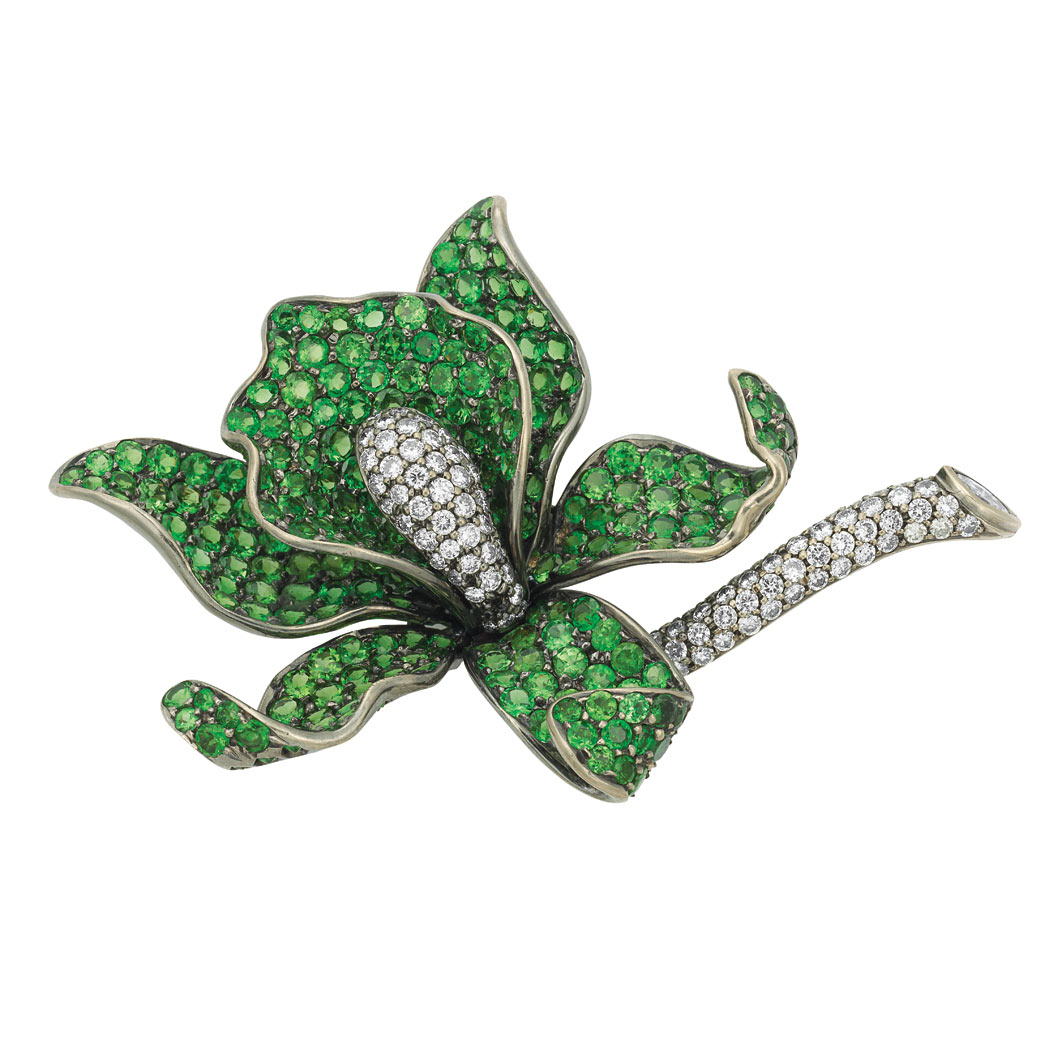 Lot image - Blackened White Gold, Green Garnet and Diamond Flower Brooch