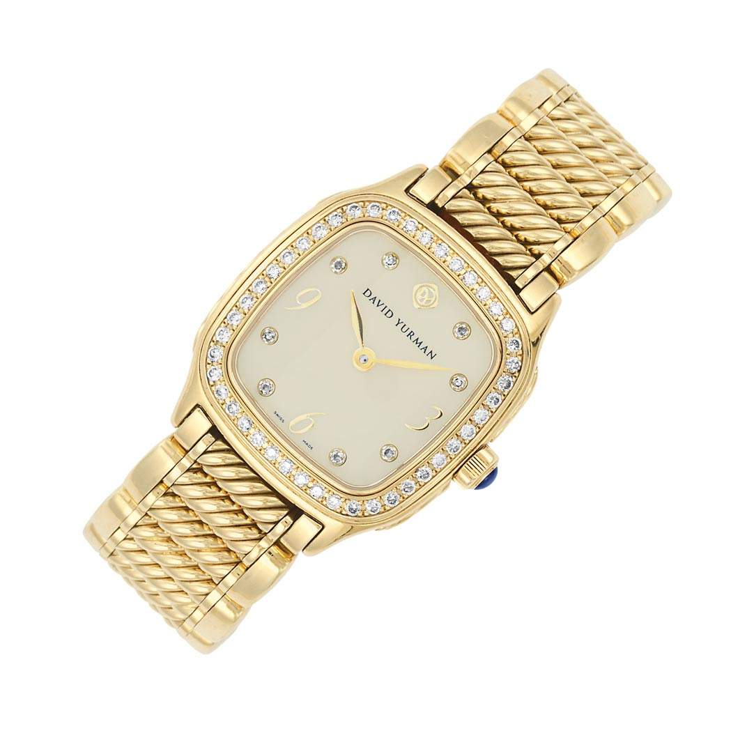 Lot image - Gold, Mother-of-Pearl and Diamond Wristwatch, David Yurman