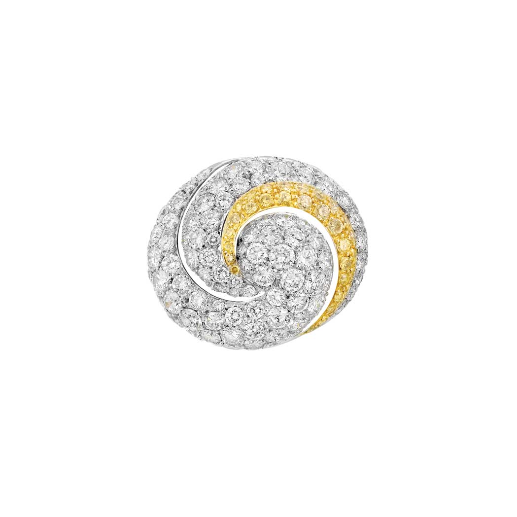 Lot image - White Gold, Diamond and Yellow Diamond Ring