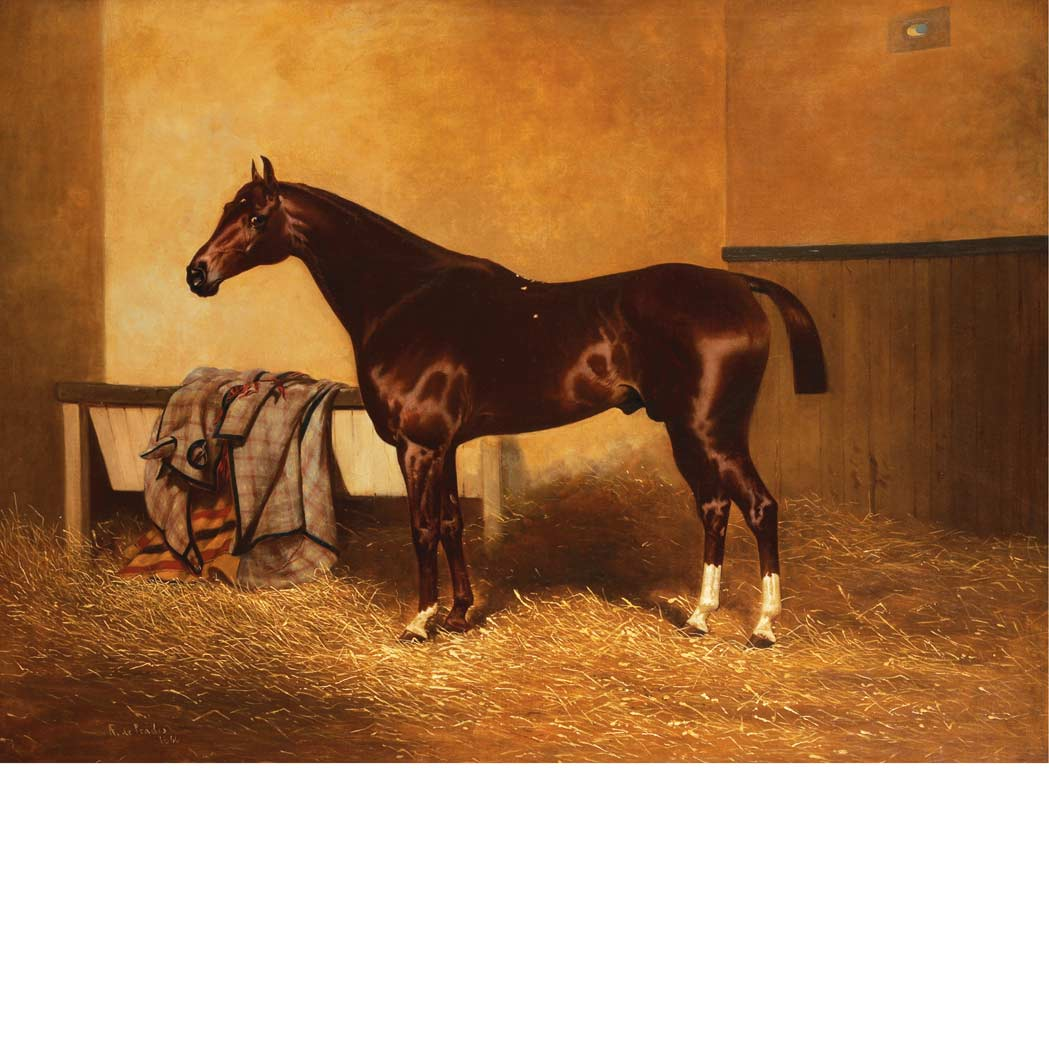 Lot image - Alfred F. de Prades British, 1844-1883 A Liver Chestnut Horse in a Stall