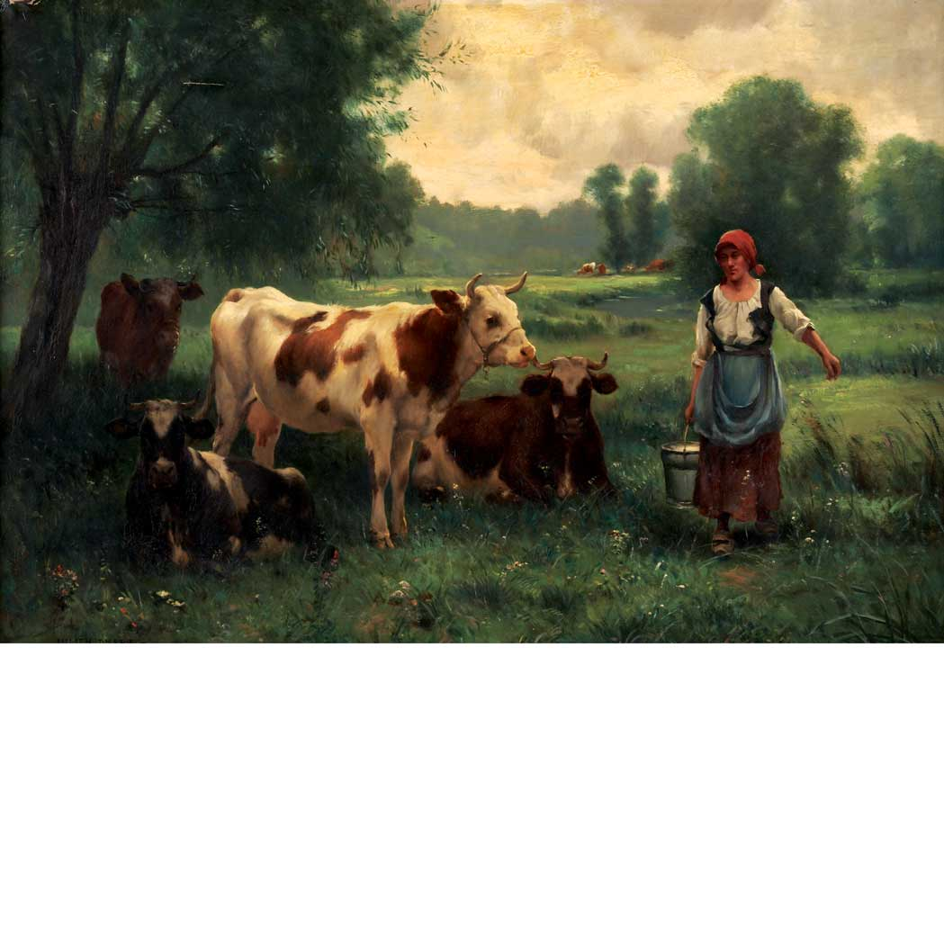 Lot image - Julien Dupre French, 1851-1910 The Milkmaid