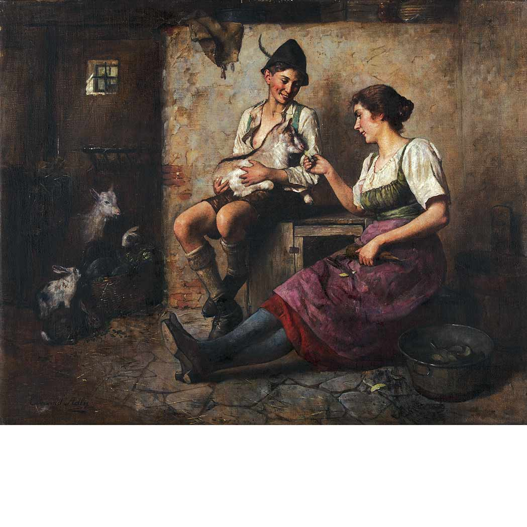 Lot image - Edmund Adler Austrian, 1876-1965 A Snack in the Stable