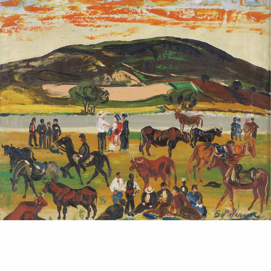 Lot image - Benjamin Palencia Spanish, 1894-1980 Ranch, 1954
