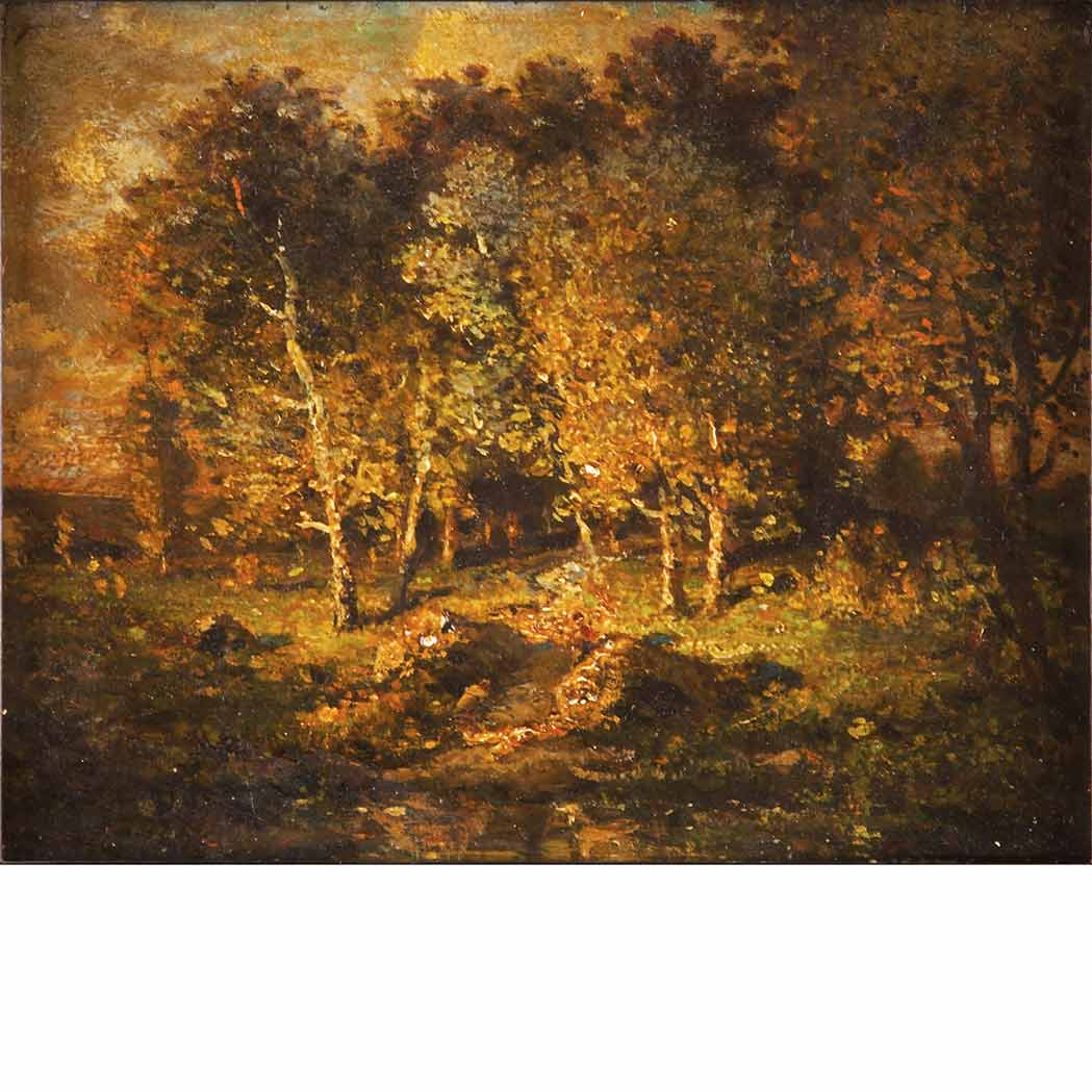 Lot image - Theodore Rousseau French, 1812-1867 Study of Sunlit Woods