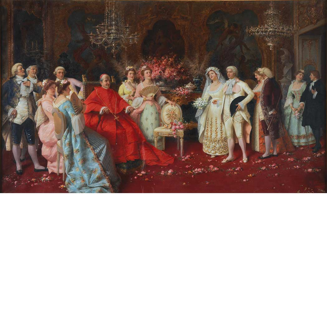 Lot image - Natale Attanasio Italian, 1846-1923 Visit with Cardinal and the Borghese Family
