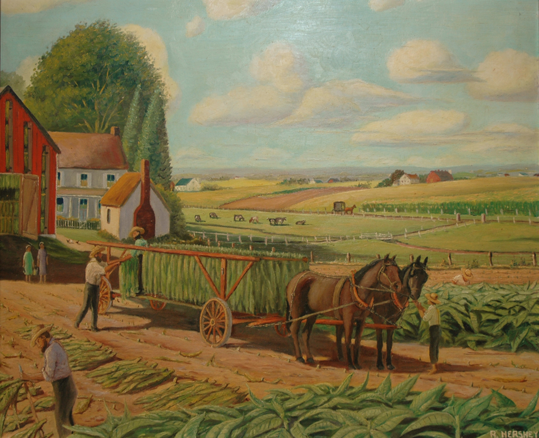 Lot image - American School 20th Century Amish Tobacco Farm