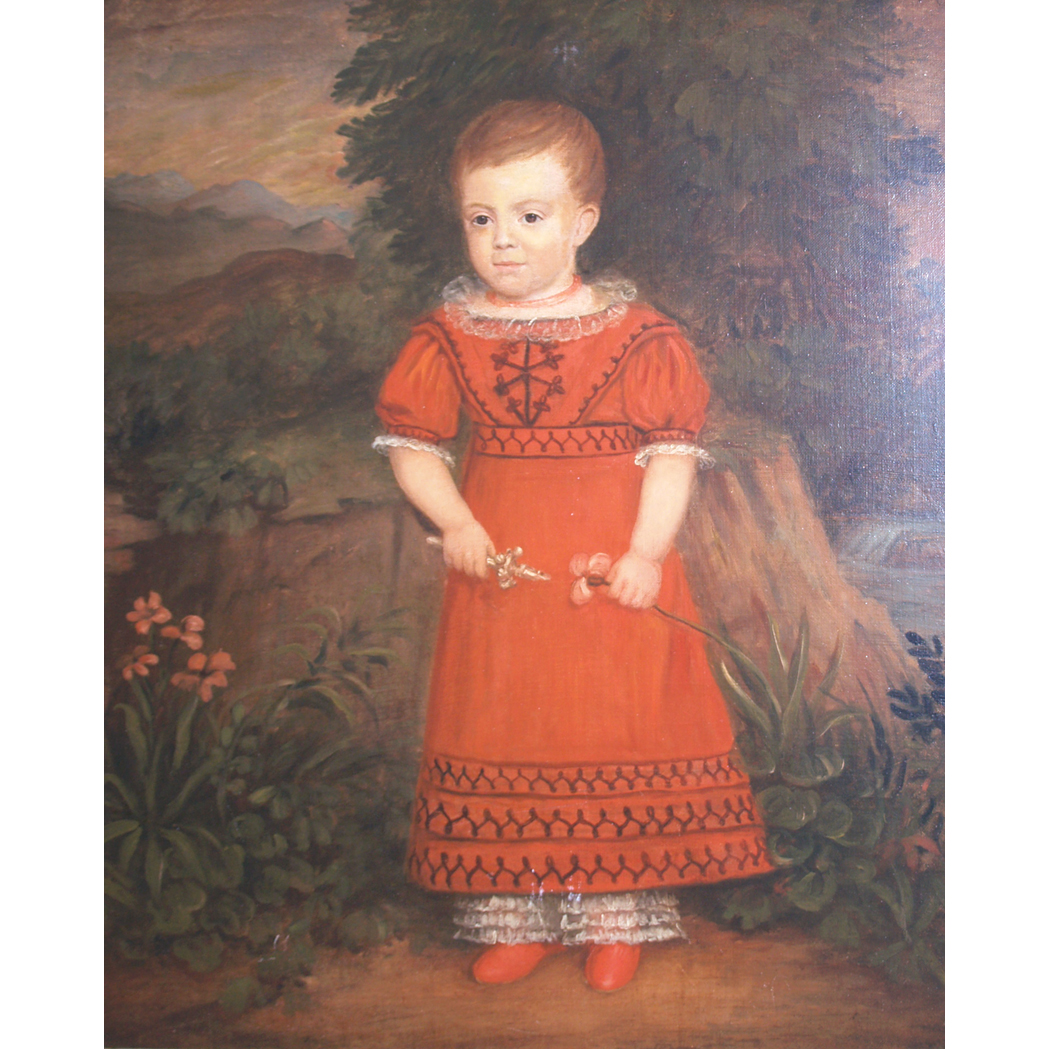 Lot image - American School Child in a Red Dress Holding a Silver Rattle