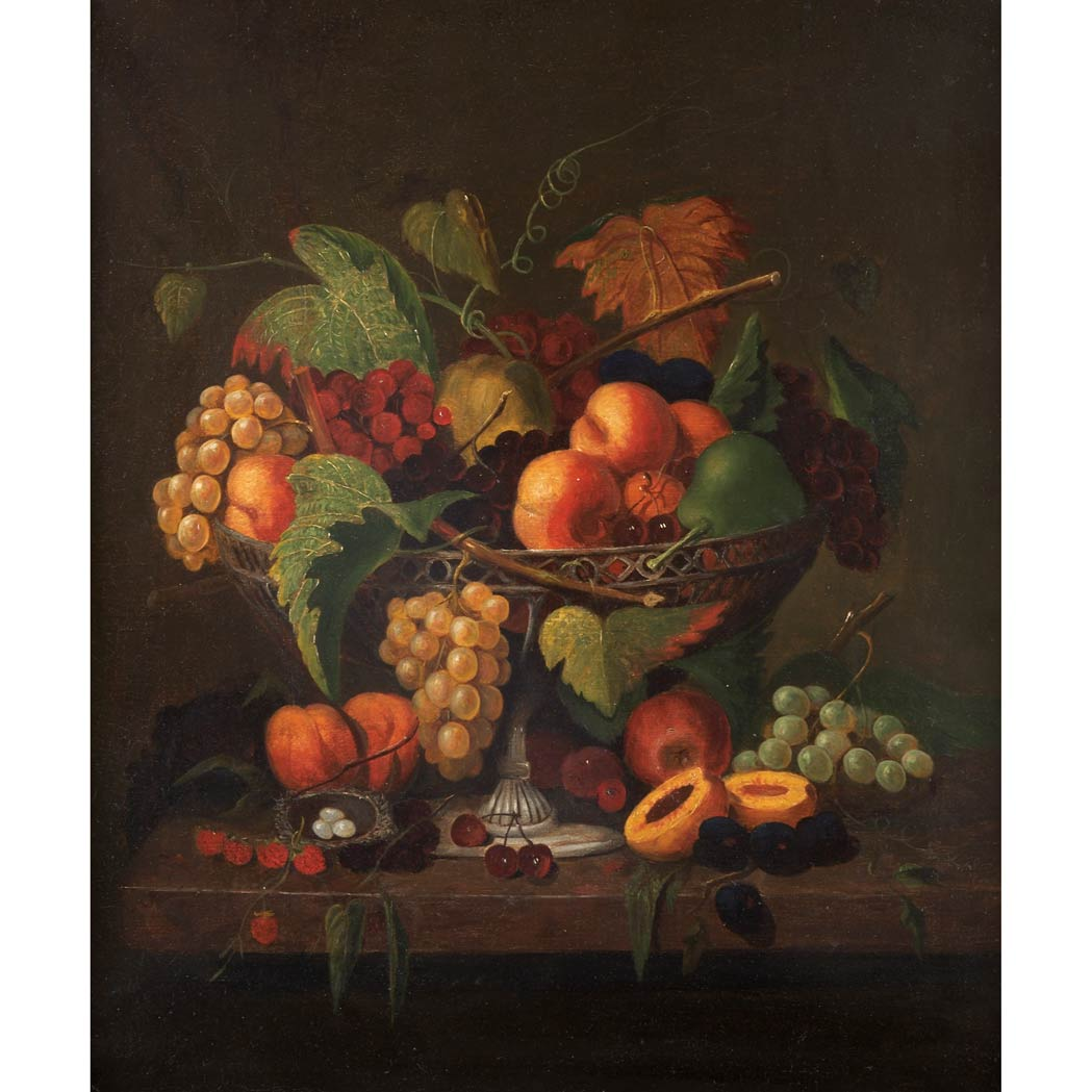 Lot image - American School 19th Century Still Life with Fruit and a Birds Nest on a Ledge
