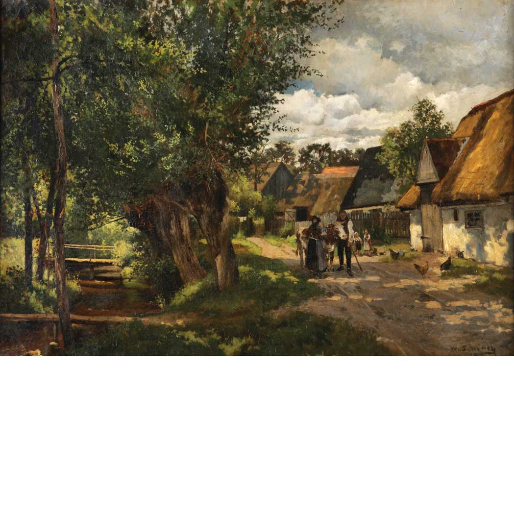 Lot image - William Starbuck Macy American, 1853-1945 A Country Village beside a Stream, 1878