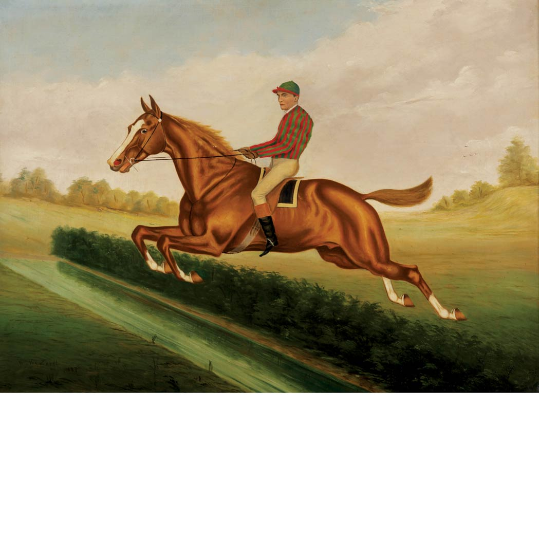 Lot image - William Garrett Van Zandt American, 1857-1942 Bourke Cochran with Jockey Up Taking a Hedge at Saratoga, 1881