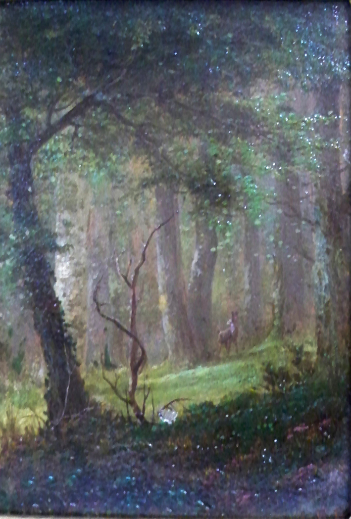 Lot image - Attributed to Herman Geyer Forest Interior with Deer