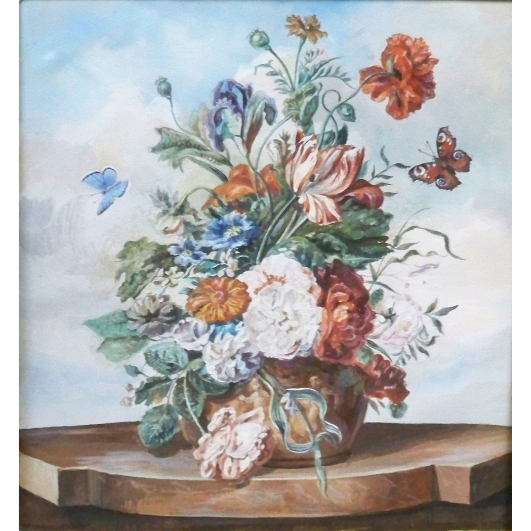 Lot image - Attributed to Friedrich Jungling Elaborate Floral Still Life on a Ledge with Butterflies: Two