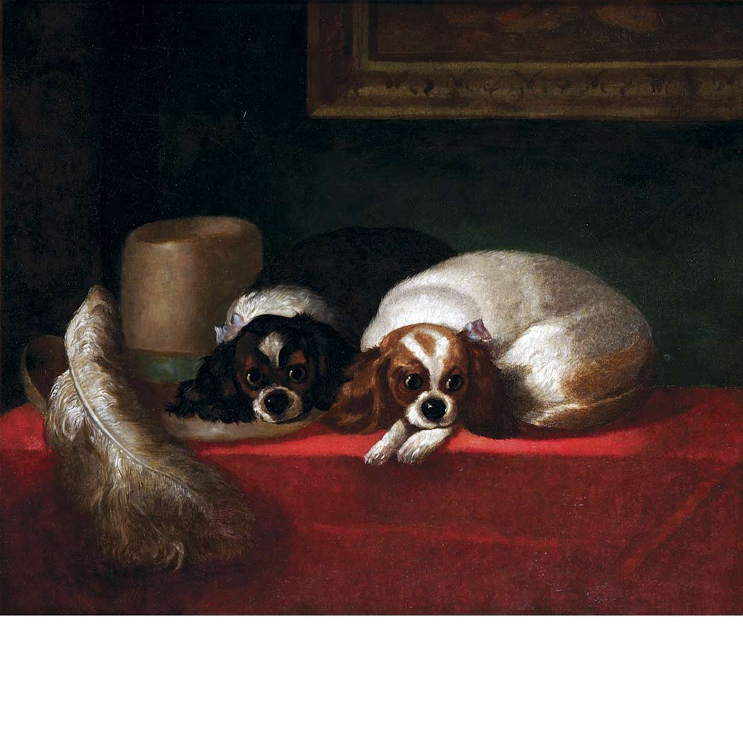 Lot image - After Sir Edwin Henry Landseer Two Cavalier King Charles Spaniels Beside a Feathered Hat