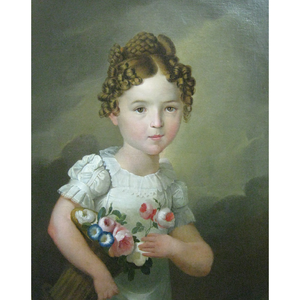 Lot image - Austrian School 19th Century Portrait of a Little Girl Carrying a Basket of Flowers