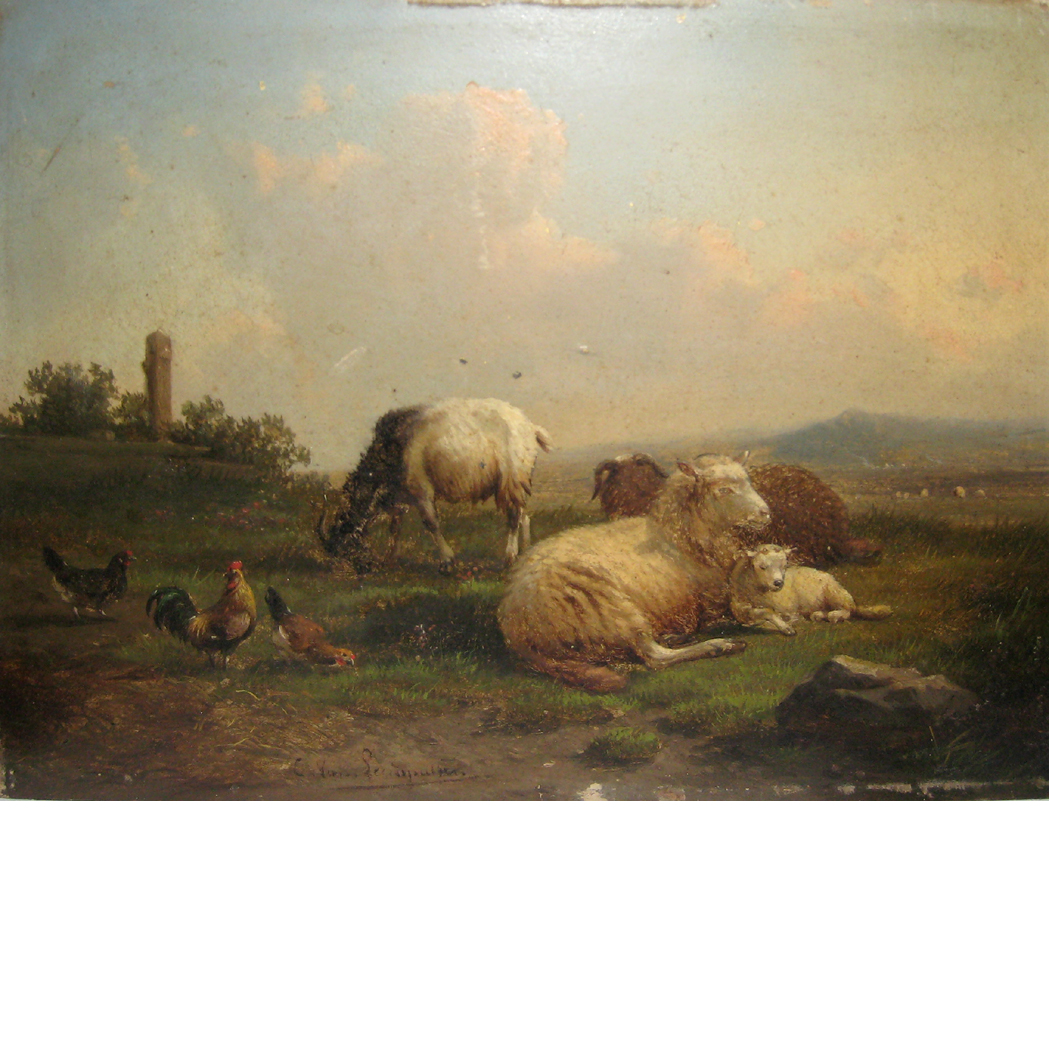 Lot image - Cornelius Van Leemputten Belgium, 1841-1902 Farm Animals in a Field