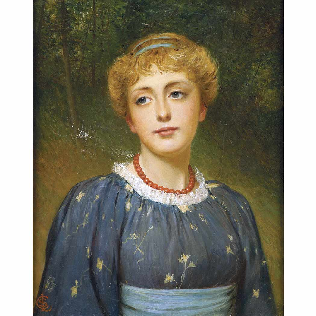 Lot image - Charles Sillem Lidderdale British, 1831-1895 Lady in an Aesthetic Dress