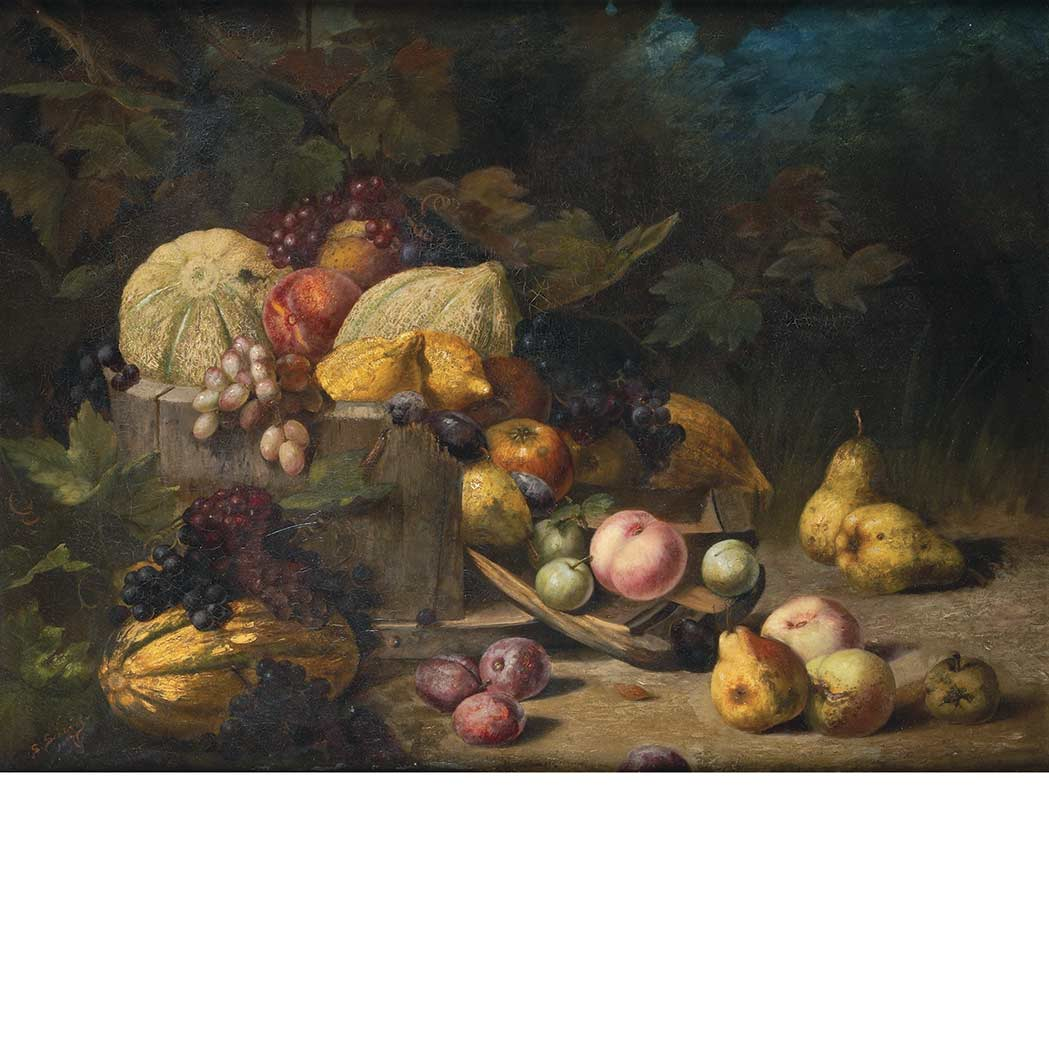 Lot image - S. Schwing 19th Century Still Life of Fruit Tumbling from a Wood Bowl, 1887
