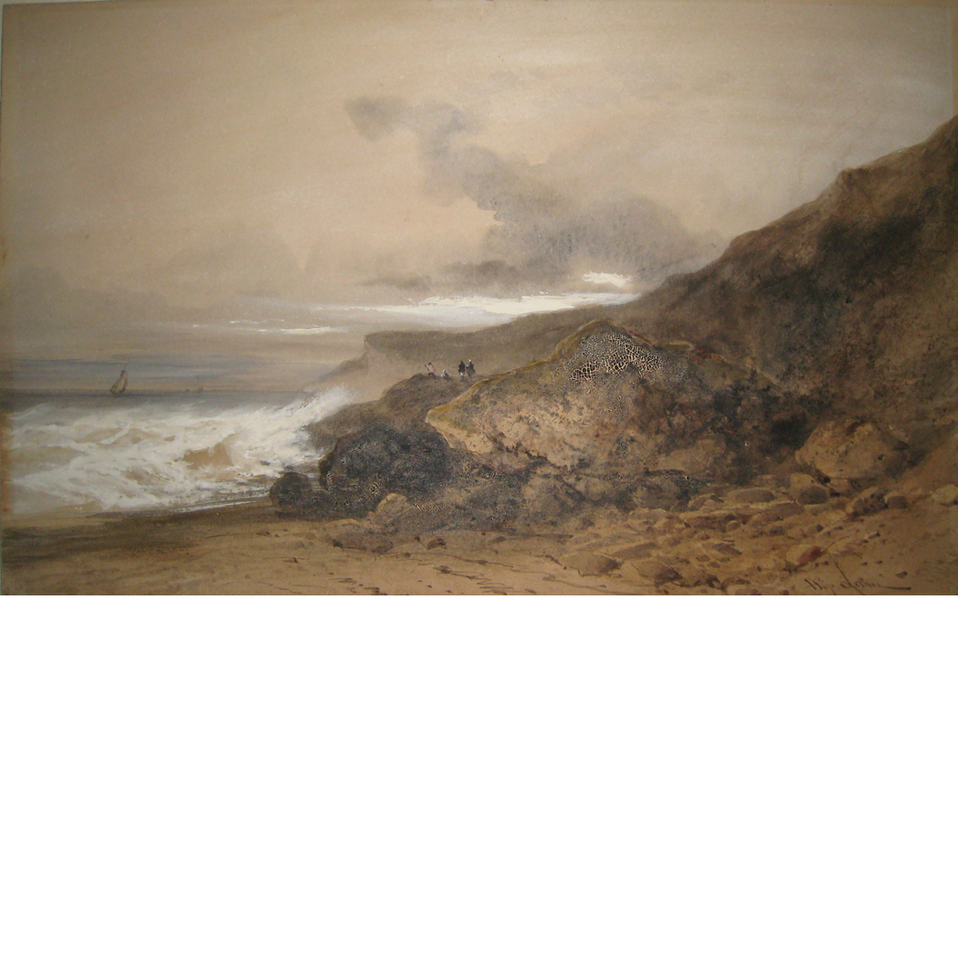 Lot image - Gabriel Hippolyte Le Bas French, 1812-1880 Stormy Day Along the Coast