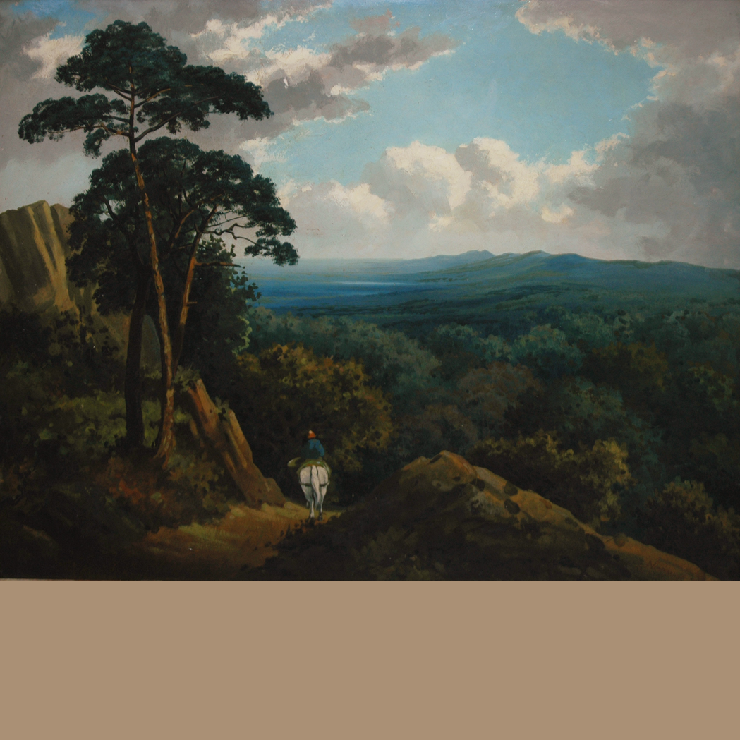 Lot image - Manner of Edmund John Niemann, the Elder Riding into a River Valley