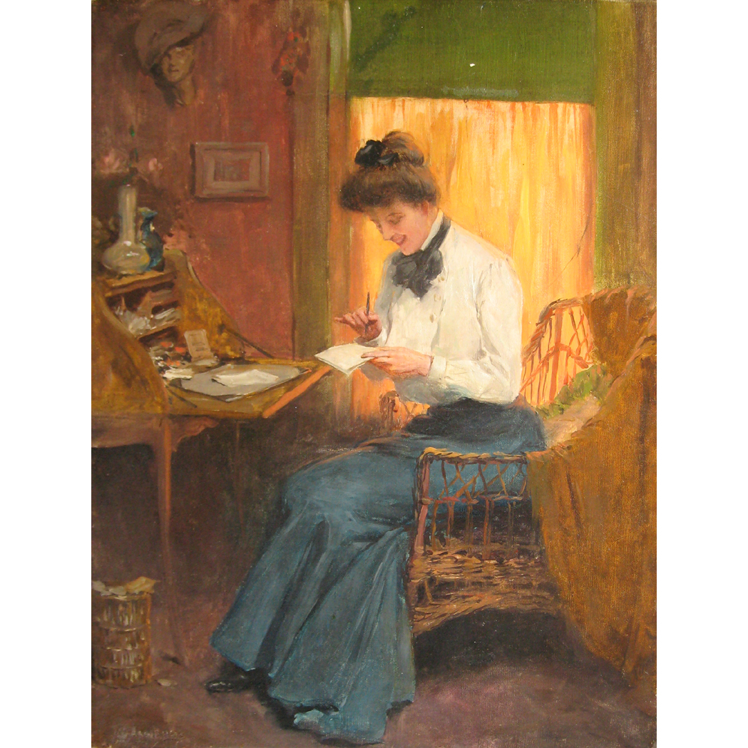 Lot image - Warren B. Davis American, 1865-1928 Woman at her Writing Desk