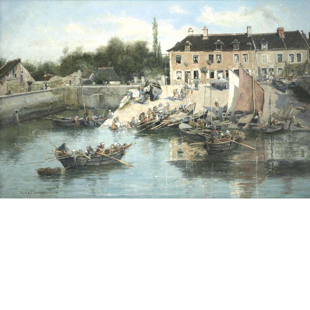 Lot image - Walter Francis Brown American, 1853-1929 Workers in a Harbor