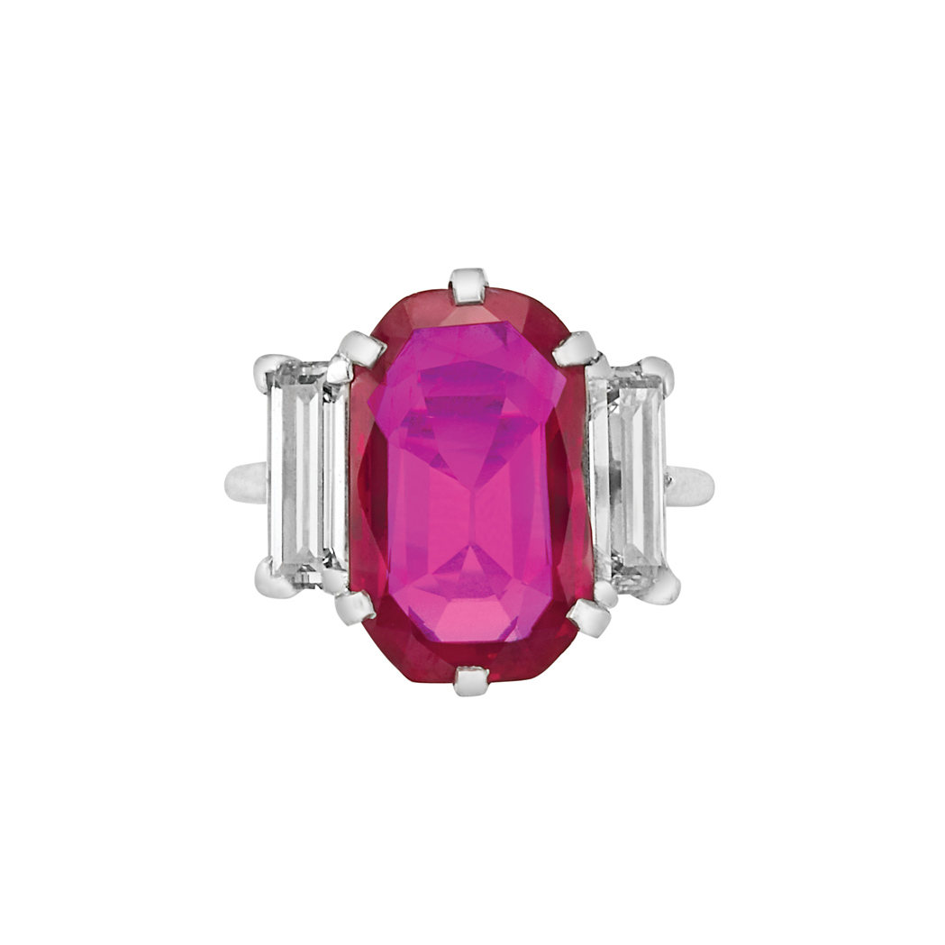 Lot image - Platinum, Ruby and Diamond Ring, Cartier
