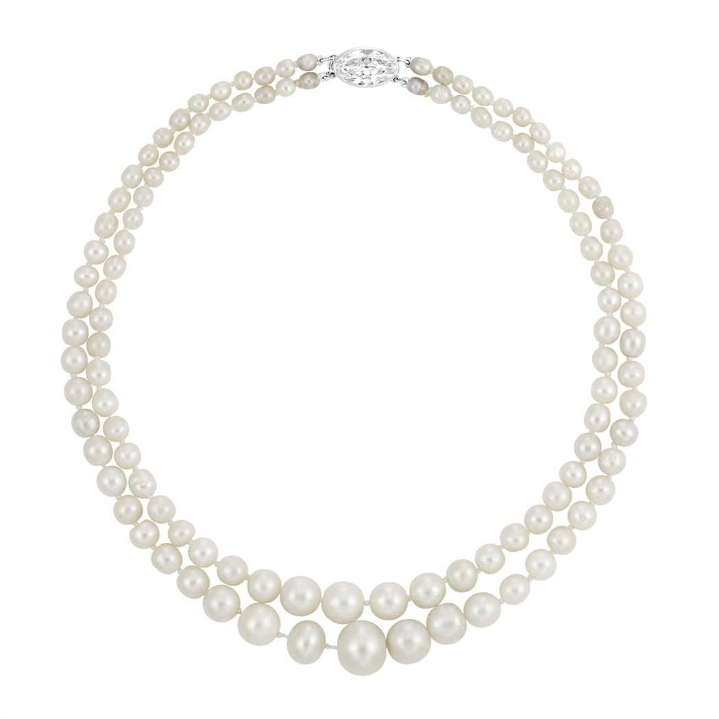 Double Strand Natural Pearl Necklace with Diamond Clasp ...