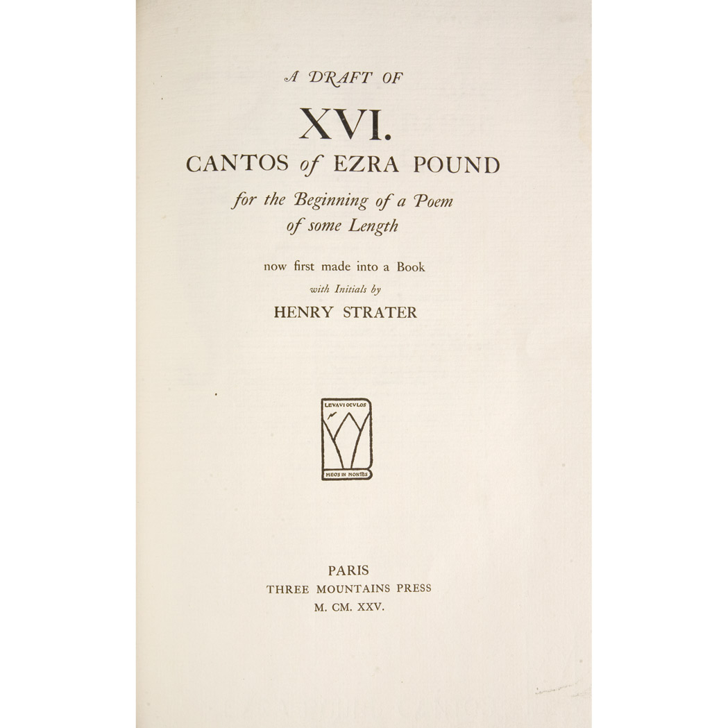 Lot image - POUND, EZRA  A Draft of XVI Cantos
