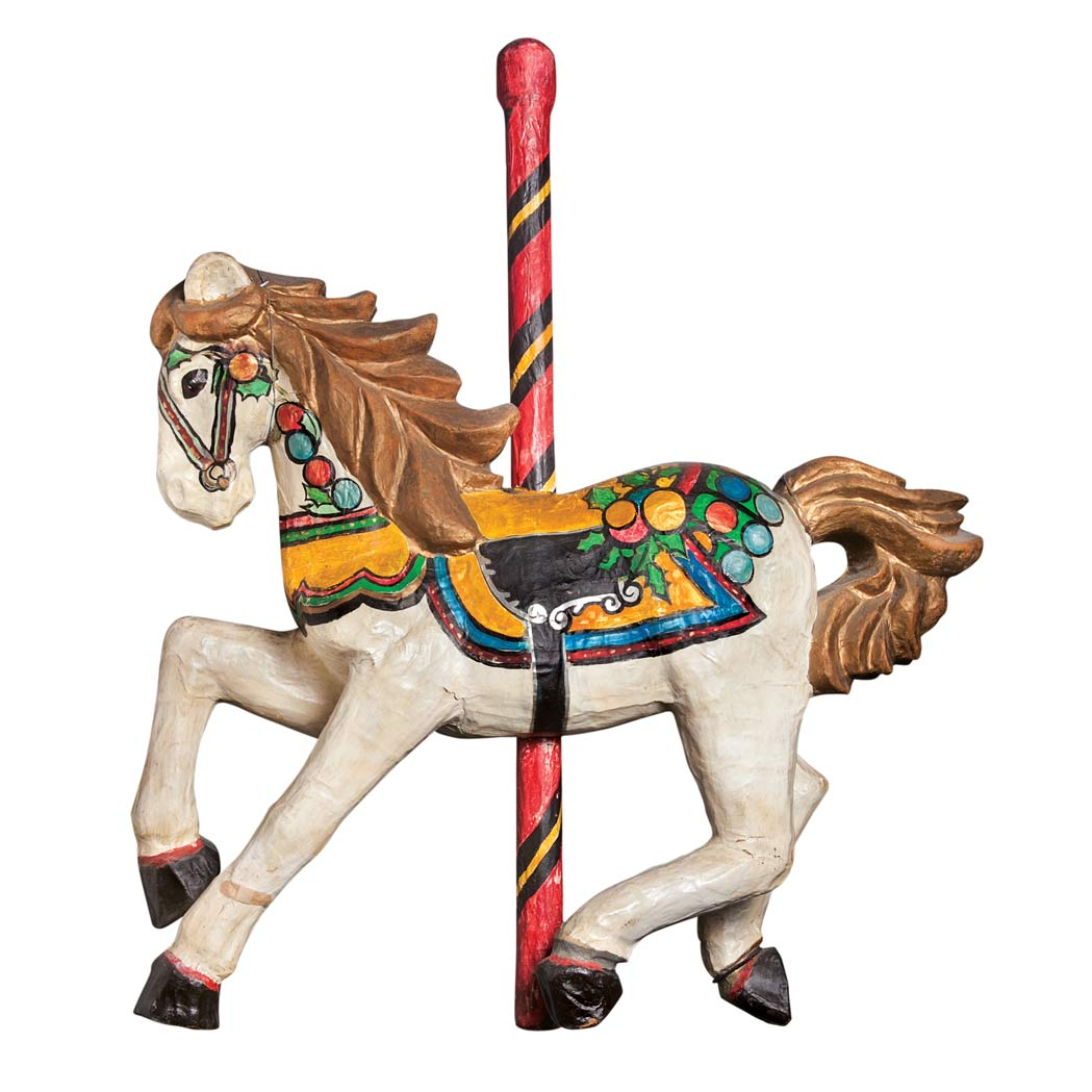 Lot image - Painted Papier Mache Figure of a Christmas Carousel Horse