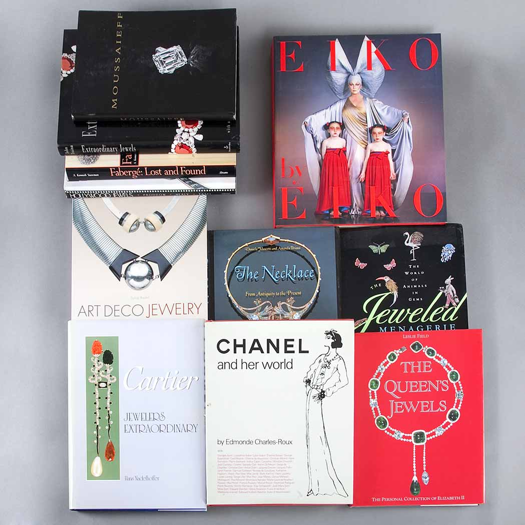 Lot image - [FASHION]  Group of approximately eleven books on fashion and jewelery design