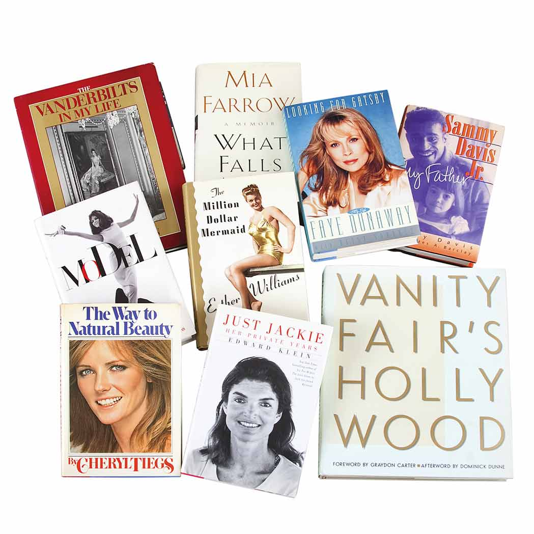 Lot image - [CELEBRITY]  Group of approximately twenty-five books by or about notable people, many inscribed by the author or subject
