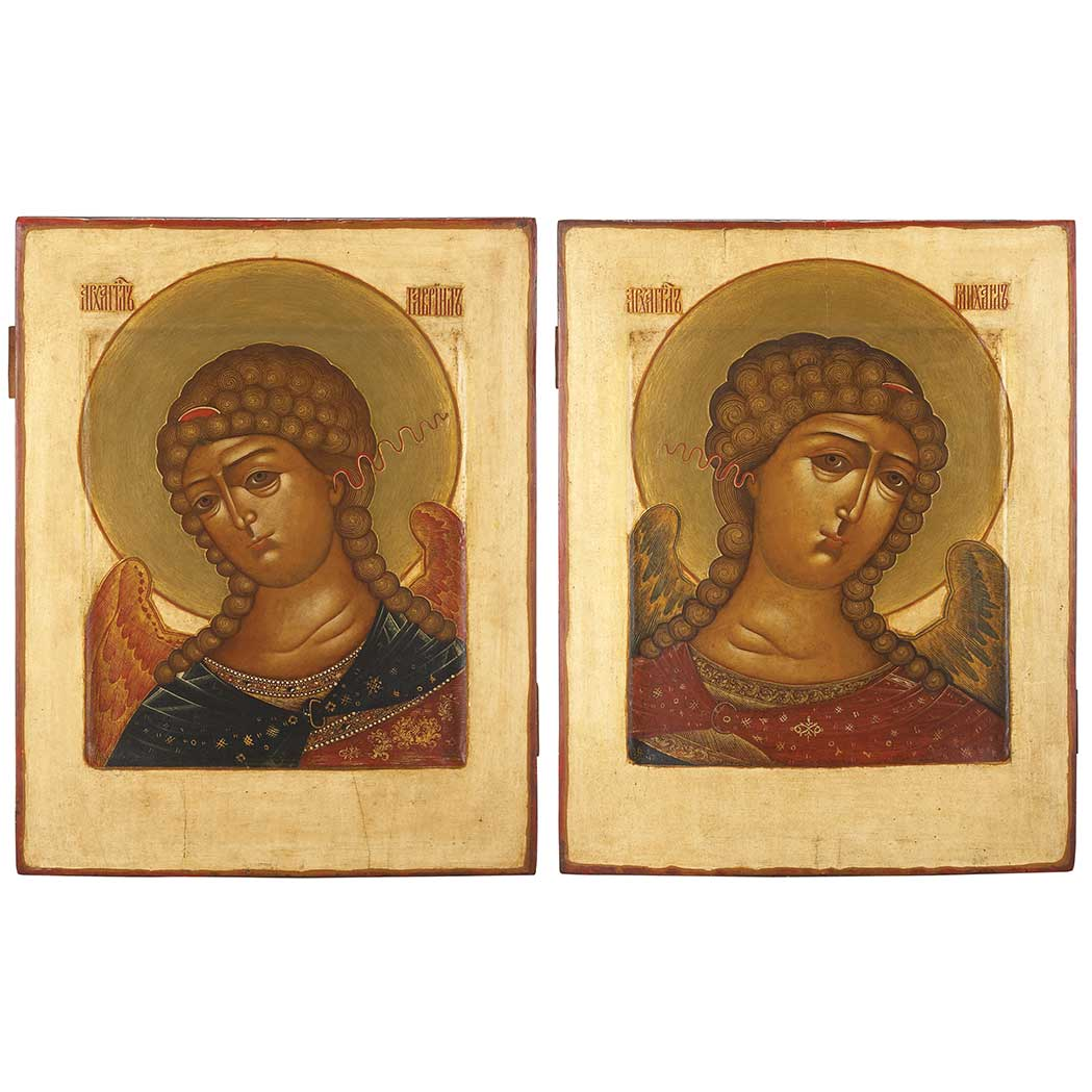 Lot image - Pair of Russian Polychrome Decorated Icons