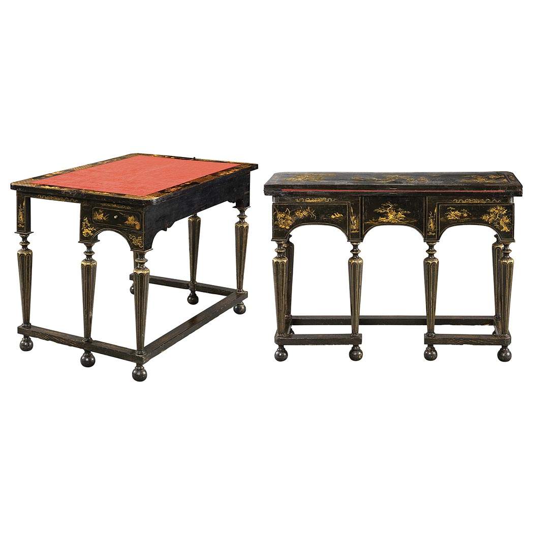 Lot image - Pair of William and Mary Japanned Writing Tables