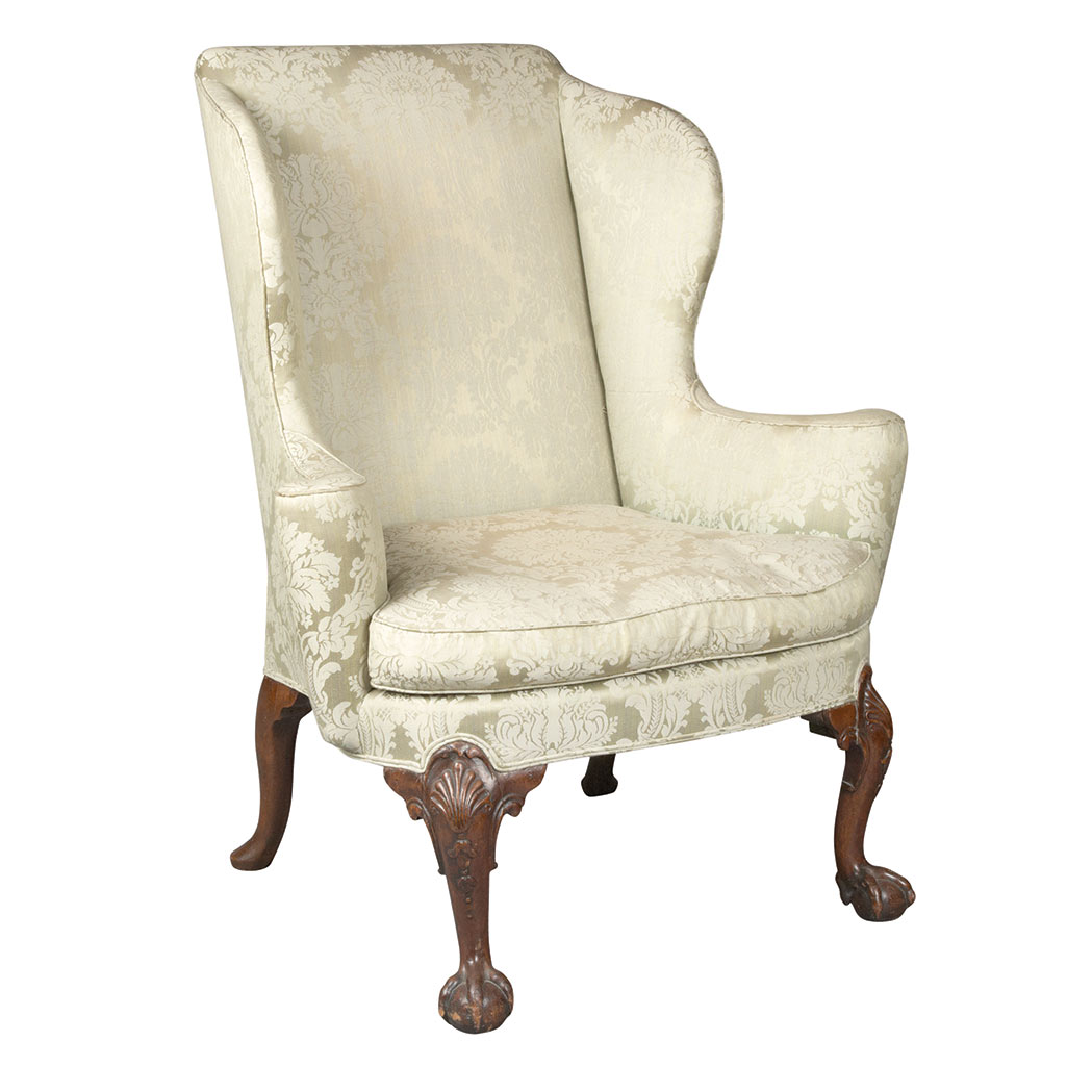 Lot image - George II Mahogany Wing Chair